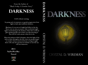 """The cover of my novel """"Darkness"""" not my best work"""